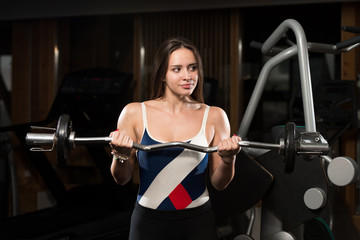 Young Woman Exercising Biceps With Barbell
