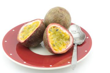 Passion fruit or maracuya, whole fruit and opened