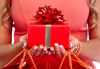 Hands with gift.
