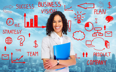 Business woman over scheme background
