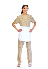 Housemaid woman isolated white background.