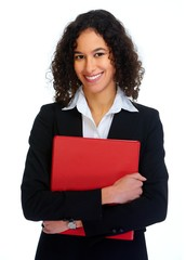 Young business woman with red folder