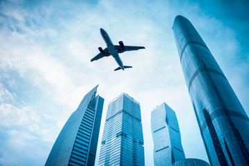 airplane with modern building
