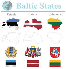 Flags of the Baltic States collection