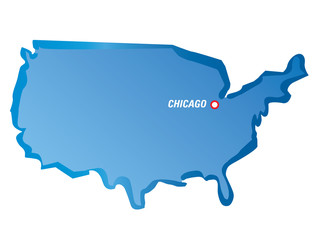 Vector map of USA and Chicago
