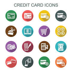 credit card long shadow icons