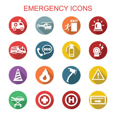 emergency long shadow icons