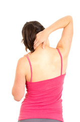 young beautiful woman with back pain