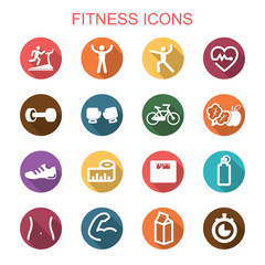 fitness long shadow icons