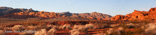 Early Morning Light Panorama in Valley of Fire - 75620349