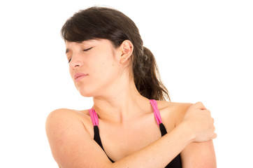 young beautiful woman with shoulder pain