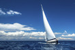 Leinwanddruck Bild - Ship yachts with white sails in the open Sea. Luxury boats.