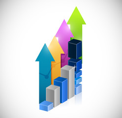 business graph and success up arrows