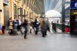 Leinwandbild Motiv London Train Tube station Blur people movement, England, UK