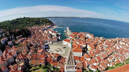 Flight over old city Piran, aerial view, Slovenia