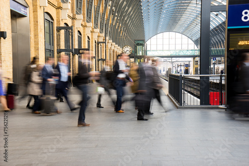 Canvas Treinstation London Train Tube station Blur people movement, England, UK