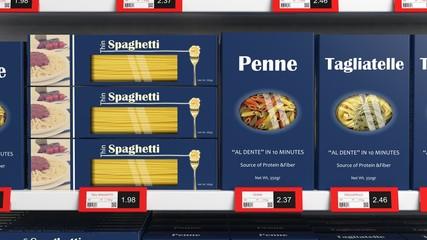 Various 3D pasta boxes on supermarket shelve