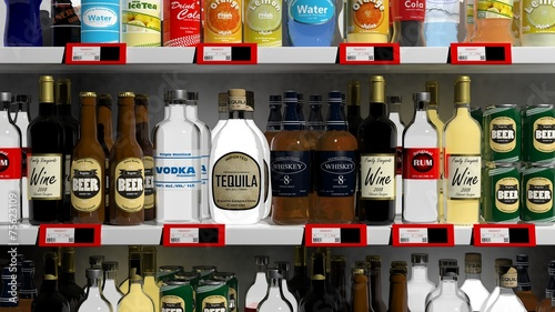 Various 3D beverages products on supermarket shelve - 75623109