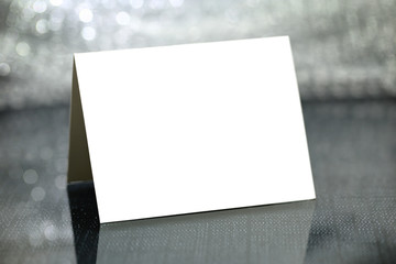 Blank card with silver bokeh background
