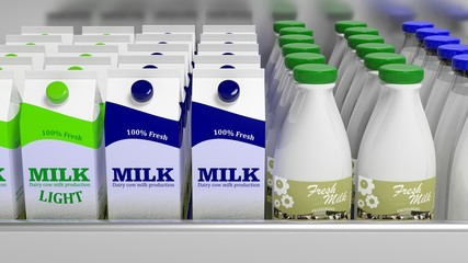 Various 3D milk containers on refrigerator shelve