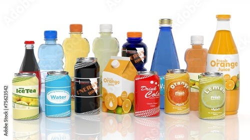 Various 3D beverages products isolated on white - 75623542
