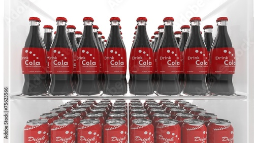 Various 3D soda containers on refrigerator shelve