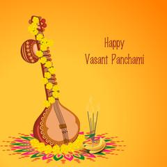Hindu religion festival, Vasant Panchami celebration with Veena.