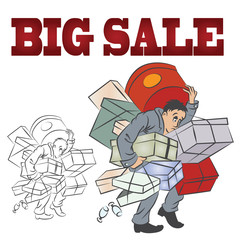 Vector clipart. Man with a big bunch of purchases with sales.