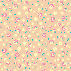 flowers petals and leaves seamless pattern