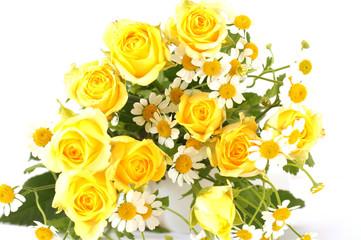 バラとカモミールの花束