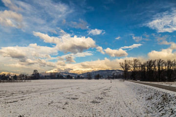 italian fields with snow