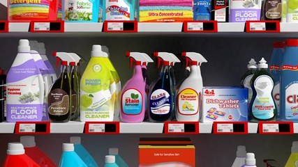 Various 3D household products on supermarket shelve