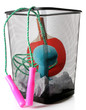 Постер, плакат: Metal trash bin with sport equipment crumpled paper and weight