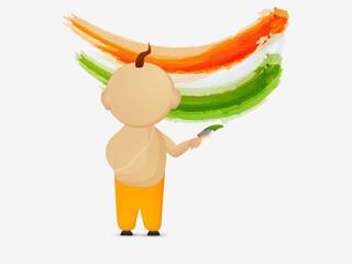 Indian Republic Day celebration with religious Hindu boy.