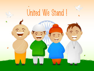Indian Republic Day celebration with different religion kids.