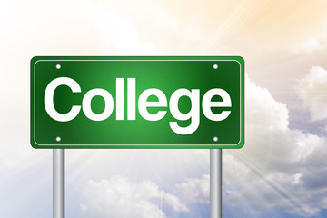 College Green Road Sign, education concept