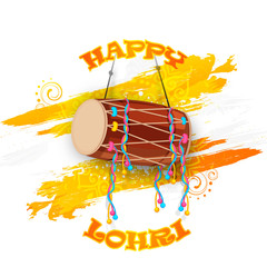 Punjabi festival, Happy Lohri celebration with decorated drum.