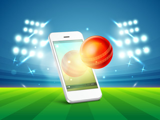 Cricket sports concept with smartphone and ball.