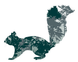 green squirrel silhouette from trees branches on white