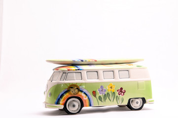 Van with a surf board