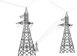 illustration with black pylons iolated group