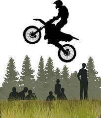 man on motorcycle high jump