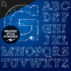 Vector christmas font characters of a shining stars. Slab