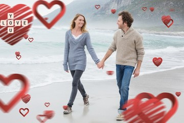 Composite image of couple holding hands and walking at beach