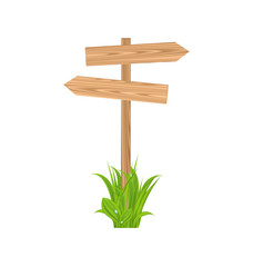 Wooden signboard for guidepost, grass