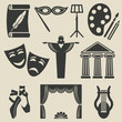 art theater icons set - 75628102