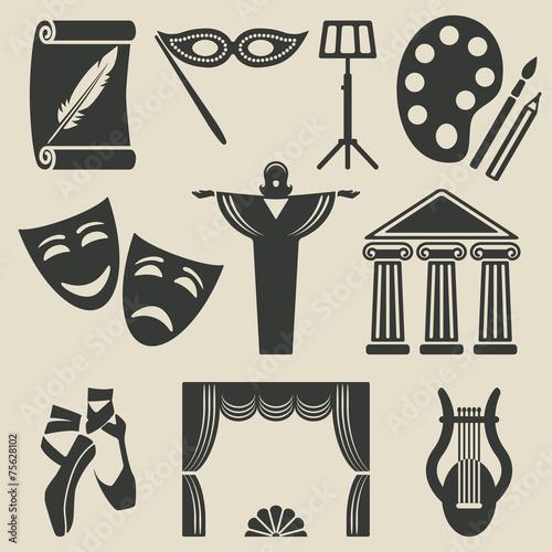 art theater icons set - 75628102