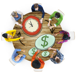 Aerial View People Time Management Money Making Concept