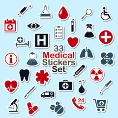 Set of medical icon stickers
