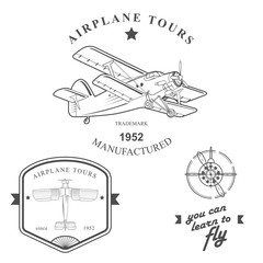 Set of vintage airplane labels, badges and design elements